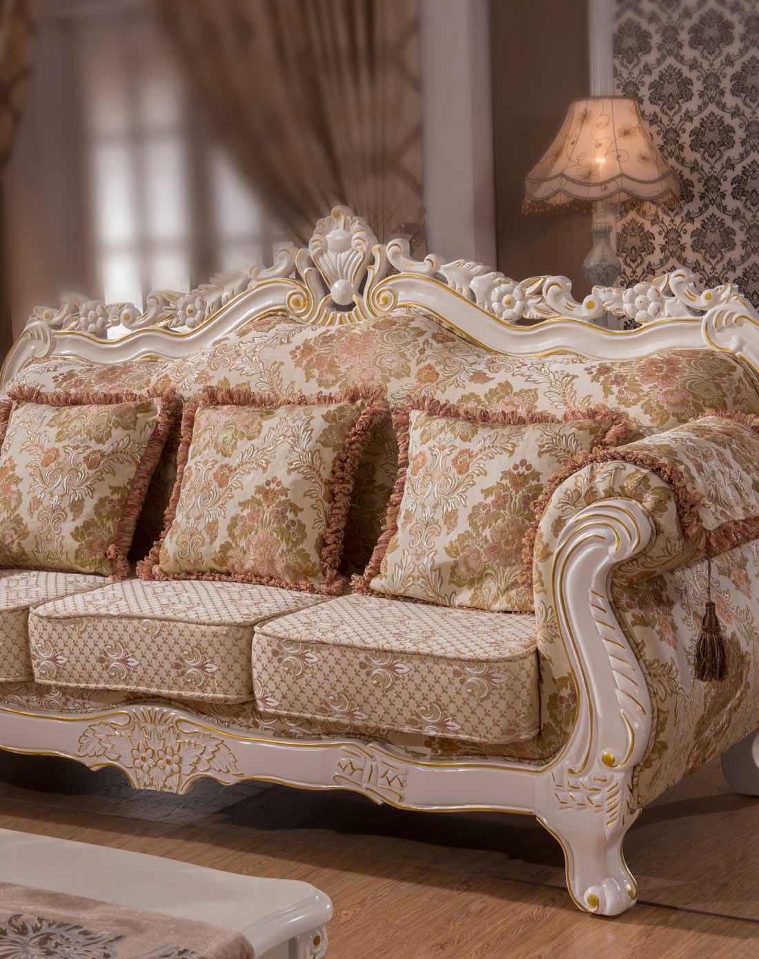 > 欧式布艺沙发组合 茶几 方几 电视柜