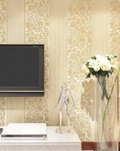 米黄色欧式富贵花无纺布墙纸
