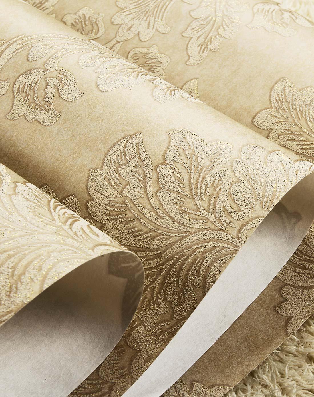 米黄欧式大马士革无纺布墙纸