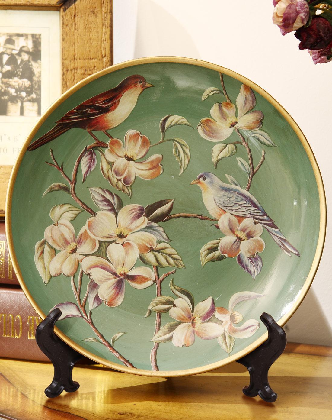 欧式田园家居创意摆件陶瓷摆盘工艺品图片