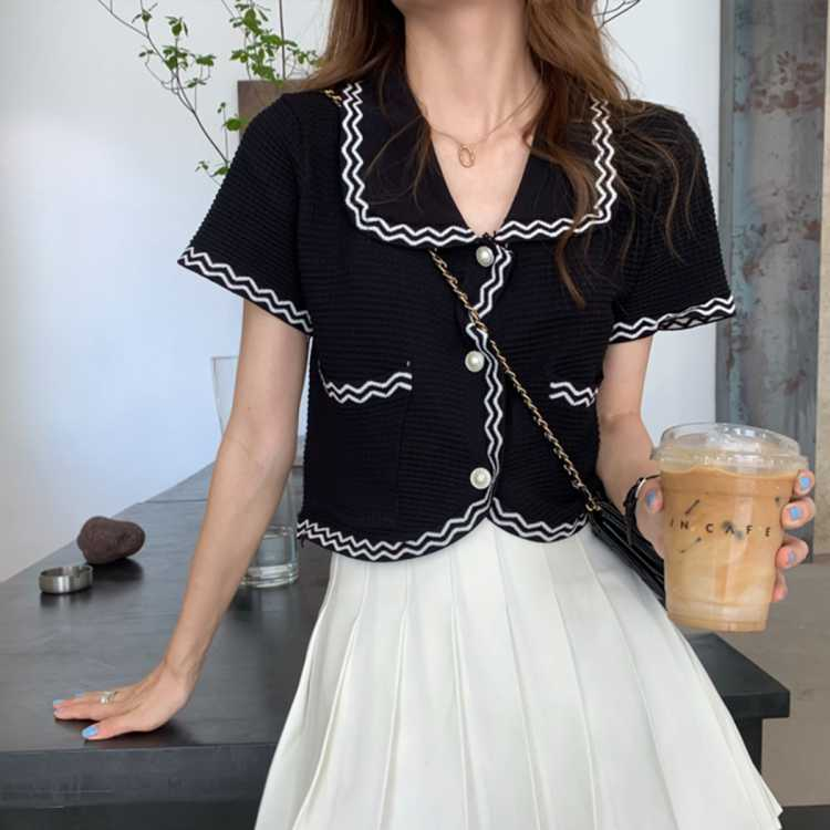 【复古小香风】新款夏季短款针织开衫外套女休闲女士上衣短袖外套