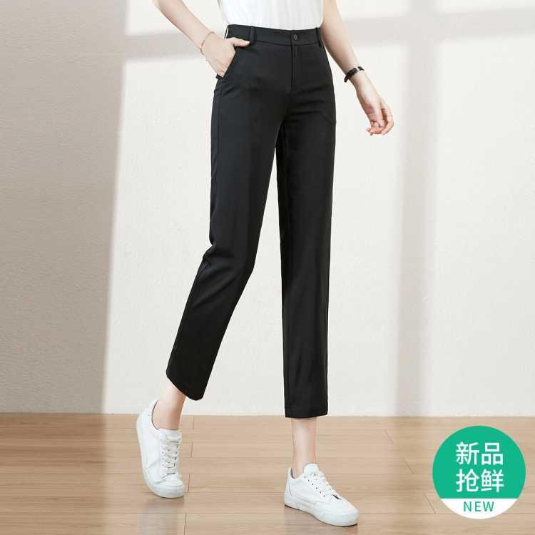 【21夏新品】九分休闲裤女修身显瘦气质直筒裤女裤子女夏季薄款