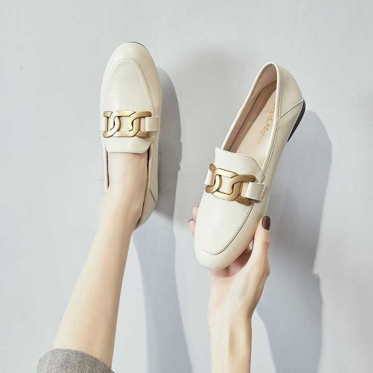 【专柜同款】小皮鞋单鞋春季新款女英伦风二层牛皮女鞋女鞋乐福鞋