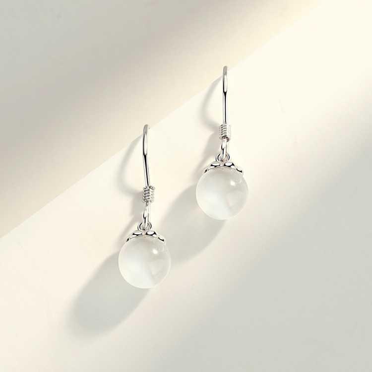 925纯银耳饰耳钉银针气质猫眼石耳坠简约时尚耳钩圆珠银饰小巧