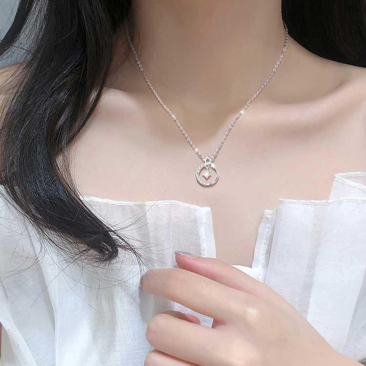 925纯银项链锁骨链毛衣链脖子颈链吊坠简约时尚闺蜜女士生日礼物