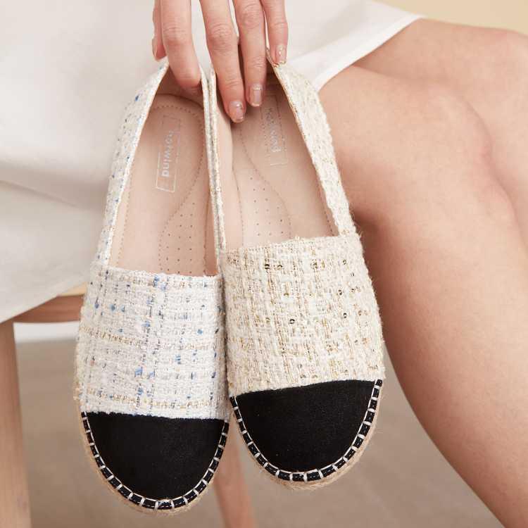 【小香风】21新品设计款甜美拼接头【渔夫鞋】平底休闲鞋