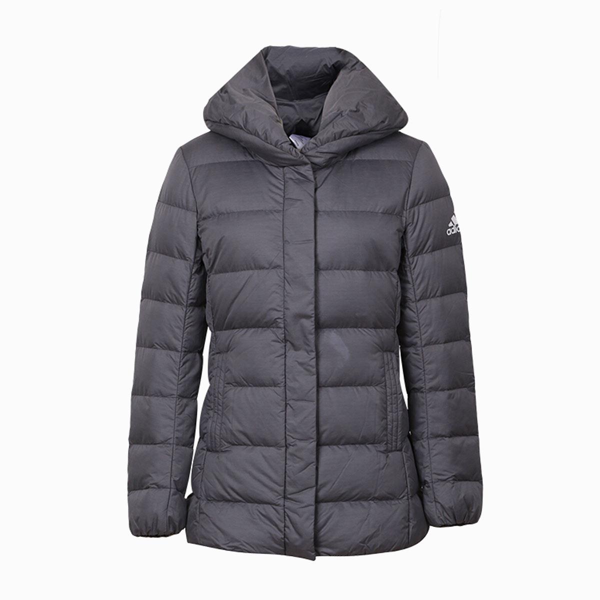 390元包邮 阿迪达斯  W NUVIC SHAWL休闲舒适防风保暖连帽女款羽绒夹克