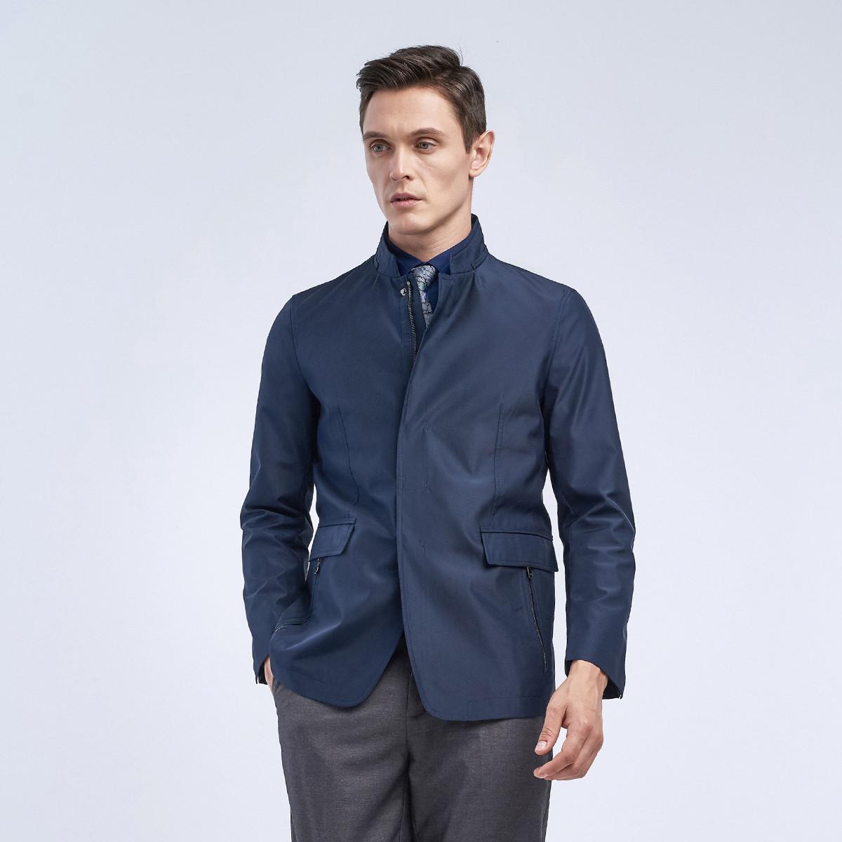 劲霸男士夹克修身立领净色中长版茄克外套
