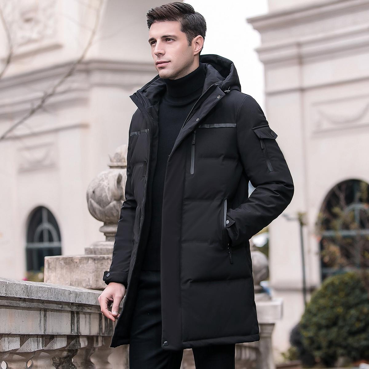 冬季男式保暖男士外套中长款连帽时商务休闲男士羽绒服
