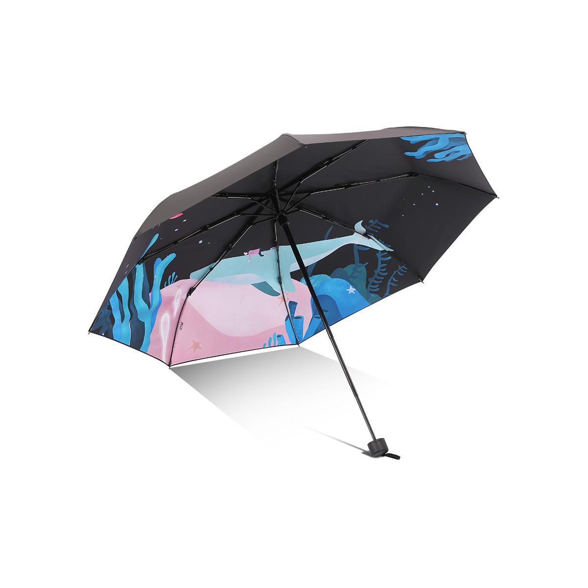 新品创意鲸鱼插画便携黑胶三折防晒遮阳伞防紫外线太阳伞男女可用
