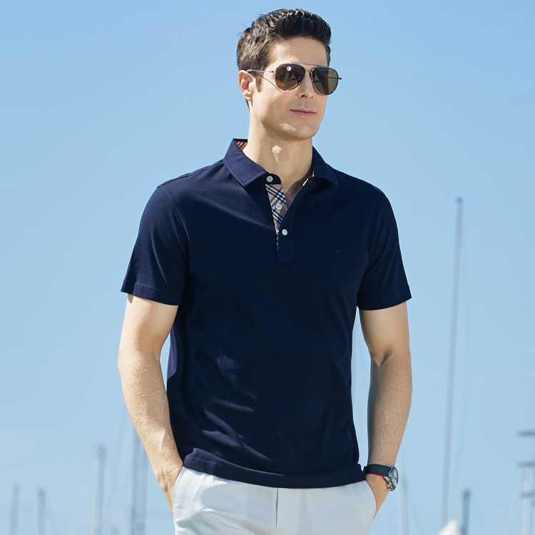 夏季新款潮流纯色七匹狼t恤上衣polo衫男士t恤短袖男装