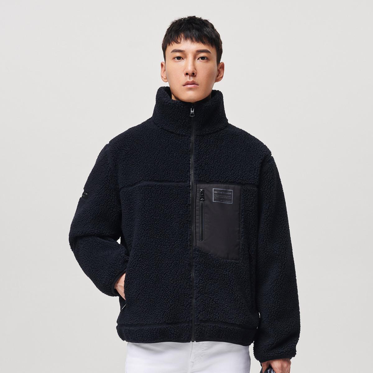 伯希和2020秋冬新品 保暖锁温简约舒适抓绒衣男运动外套男