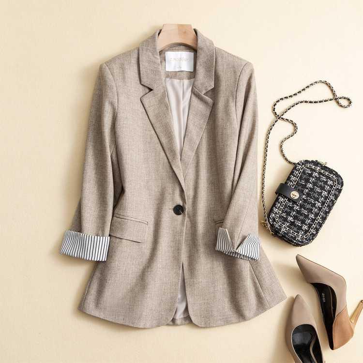 拉夏贝尔旗下2021春季新款女士都市OL通勤简约拼接西装外套
