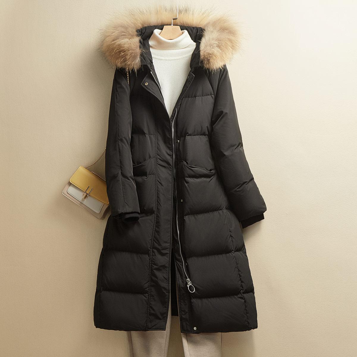 90%白鸭绒秋冬新品中长款保暖气质休闲真毛领女士羽绒服女