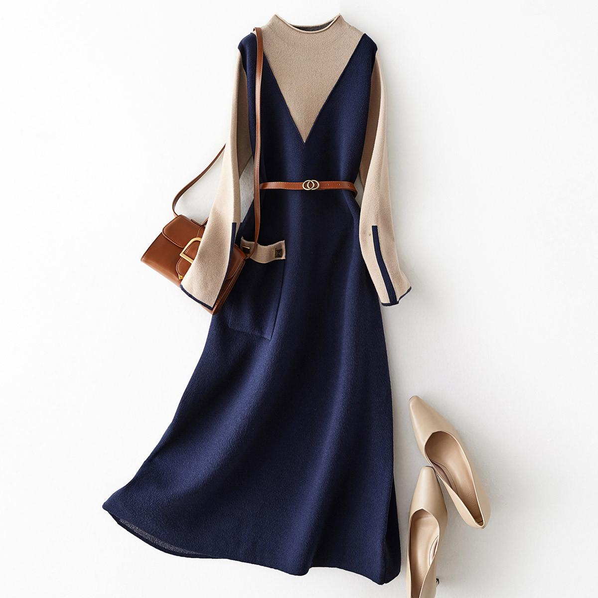 20秋冬精致大方长裙女款简约时尚气质收腰显瘦撞色针织连衣裙