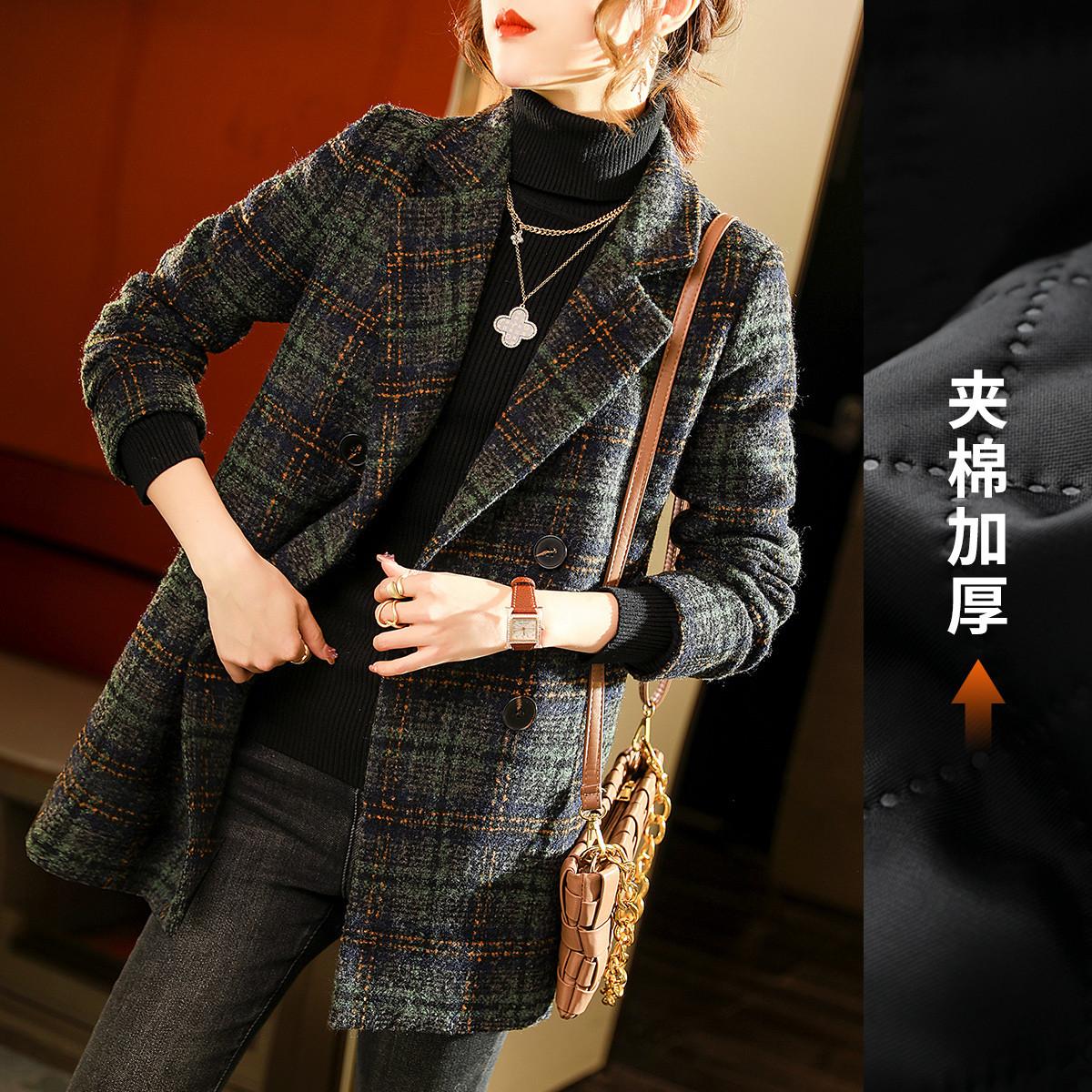 【加棉加厚毛呢大衣】轻奢气质格纹显瘦外套春装加厚中长款呢大衣
