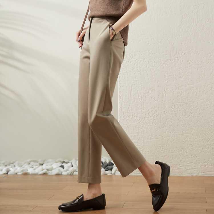 九分烟管裤子女宽松直筒2021夏季新款西装裤薄款休闲裤