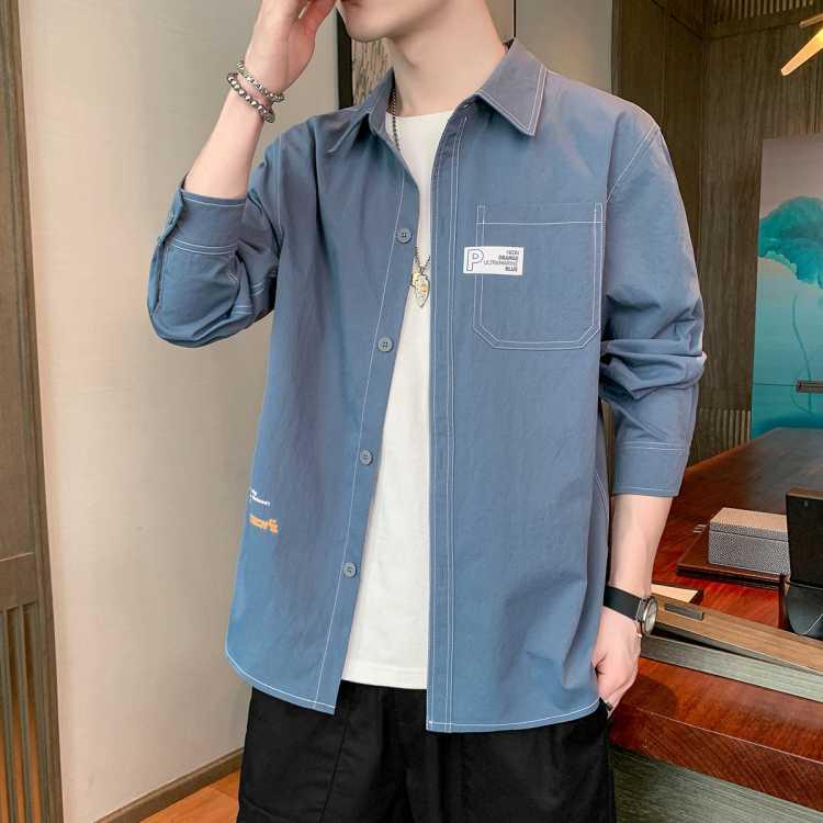 森马旗下男衬衣春季新款长袖翻领开衫舒适休闲男士衬衫外套