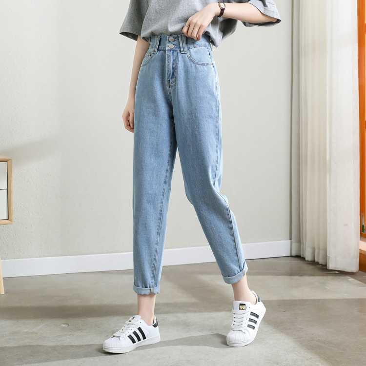 夏季薄款牛仔裤女2021年新款高腰宽松哈伦显瘦直筒萝卜老爹裤