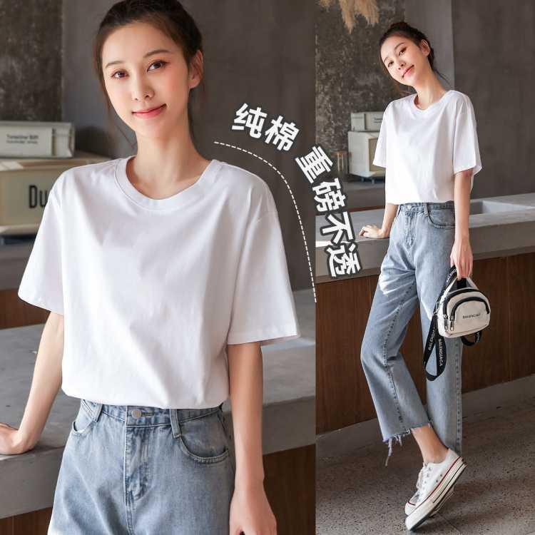 新款上衣夏装内搭中袖打底衫半袖体恤衫大码休闲短袖纯棉女式t恤