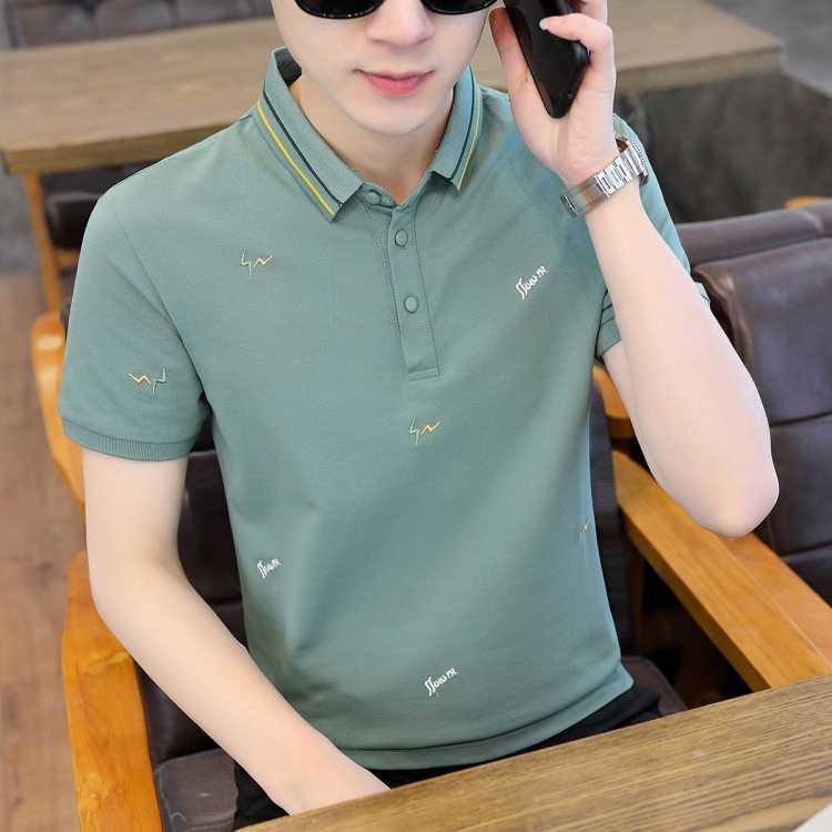 【质感刺绣】2021新款夏季翻领POLO衫男士短袖t恤潮牌潮流上衣