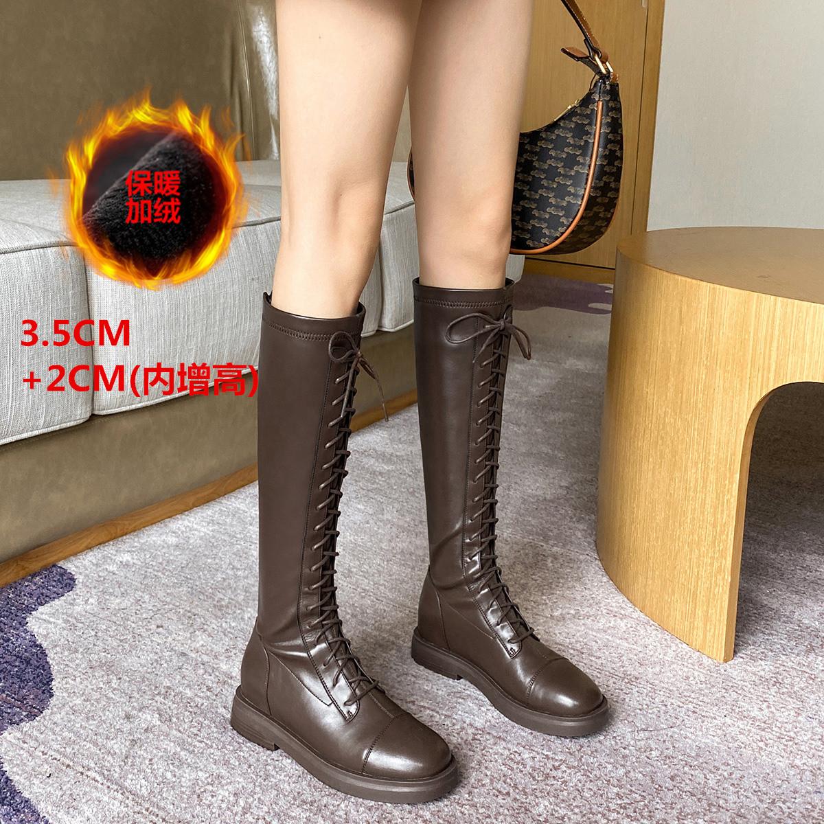 【内**】加绒新款平跟显瘦皮靴骑士靴机车靴长筒靴女士靴子女靴