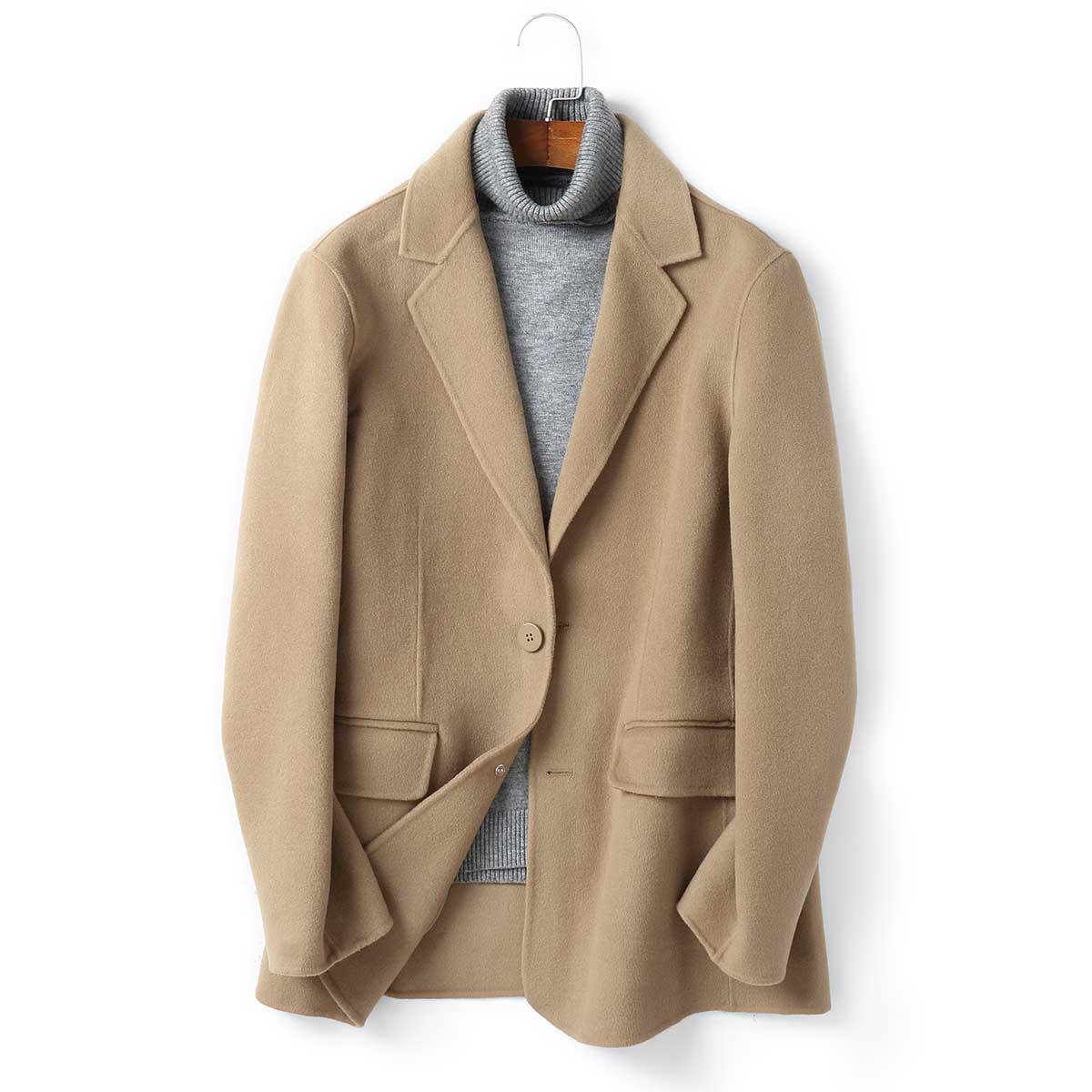 【100%羊毛】春季新款毛呢大衣男短款西服西装上衣双面呢外套