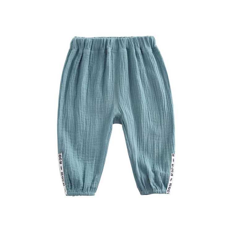 宝宝防蚊裤夏季2021新款婴幼儿字母织带棉纱布灯笼裤休闲裤