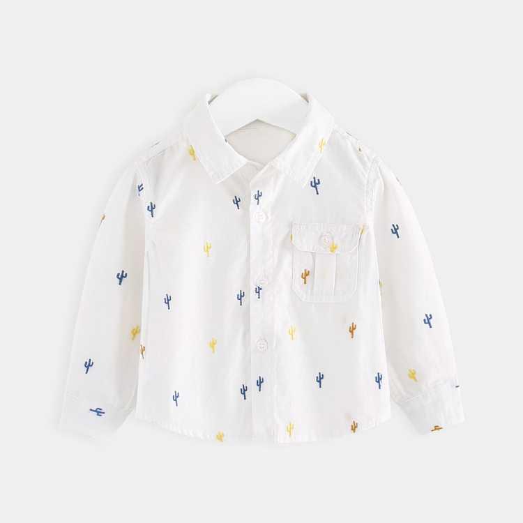男宝宝白衬衫翻领仙人掌刺绣长袖婴幼儿纯棉春季休闲上衣