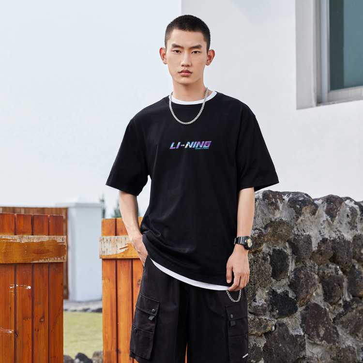 李宁男式夏季圆领舒适运动T恤