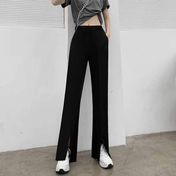 开叉休闲西装裤女夏季薄款新款显瘦宽松拖地阔腿长裤垂感裤