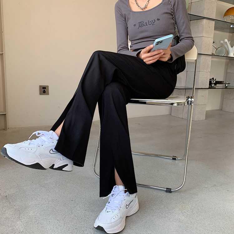 【开叉】黑色西装裤子女前开叉高腰休闲直筒垂感显高拖地裤阔腿裤