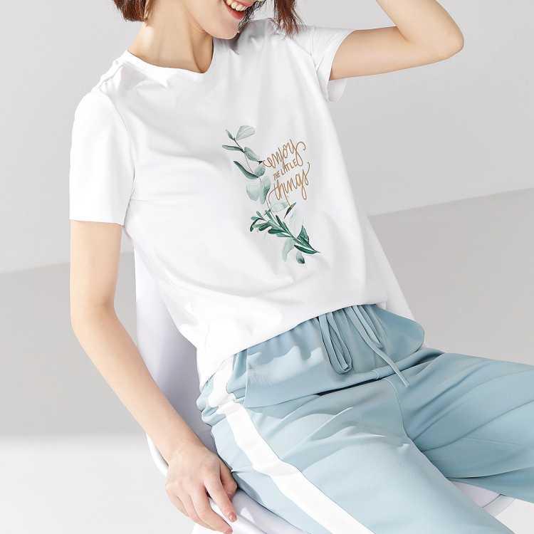 【十周年 每日秒杀】全棉新疆棉短袖t恤女夏新款印花女式t恤