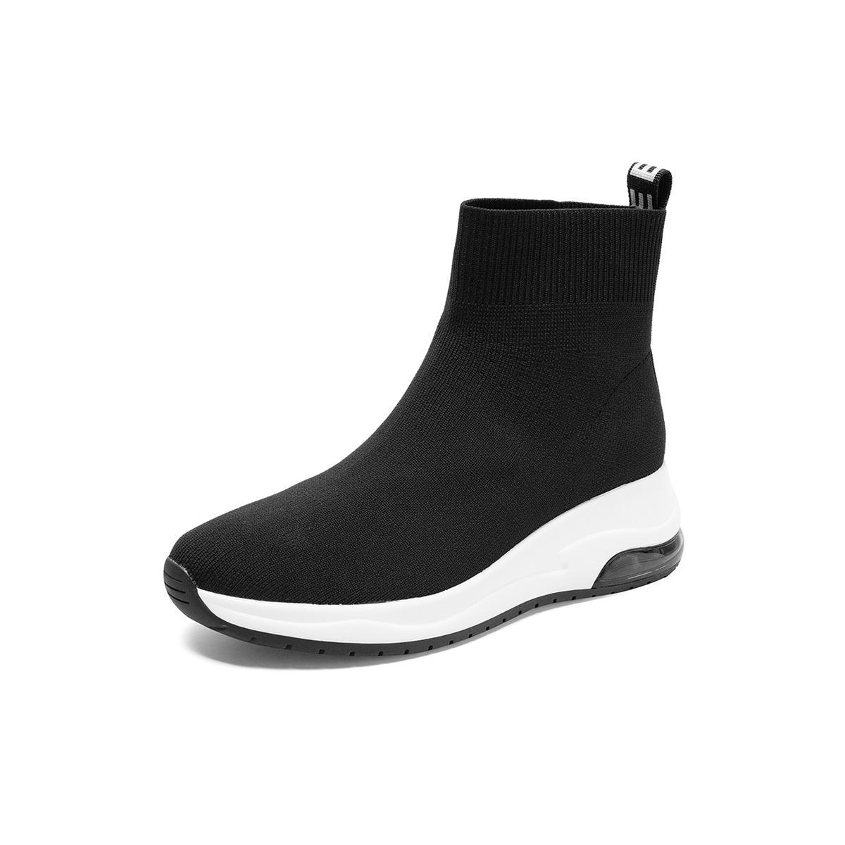 天美意冬新款商场同款潮流欧美风短筒袜靴女休闲靴